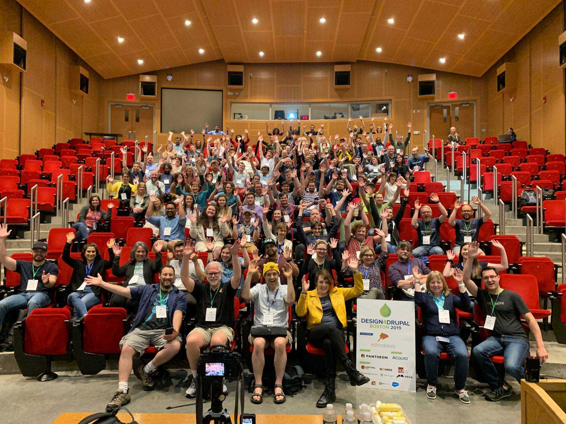 Design 4 Drupal, Boston 2019 attendees in a lecture hall