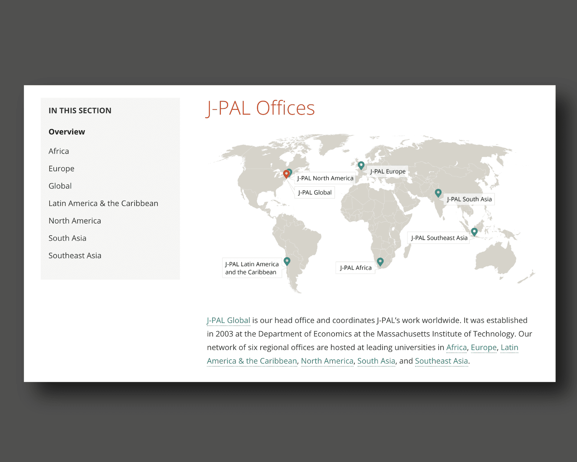 Searchable map of J-PAL global offices