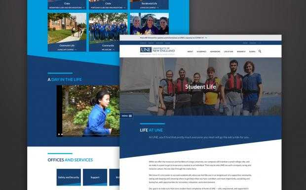 Blue design elements used throughout the University of New England's website